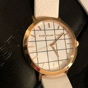 Christian Paul Accessories - MINT Christian Paul White Haven Grid Watch